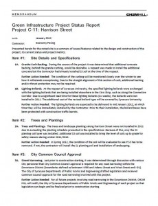 Harrison St Commercial Green Street Project Status Report (PDF)