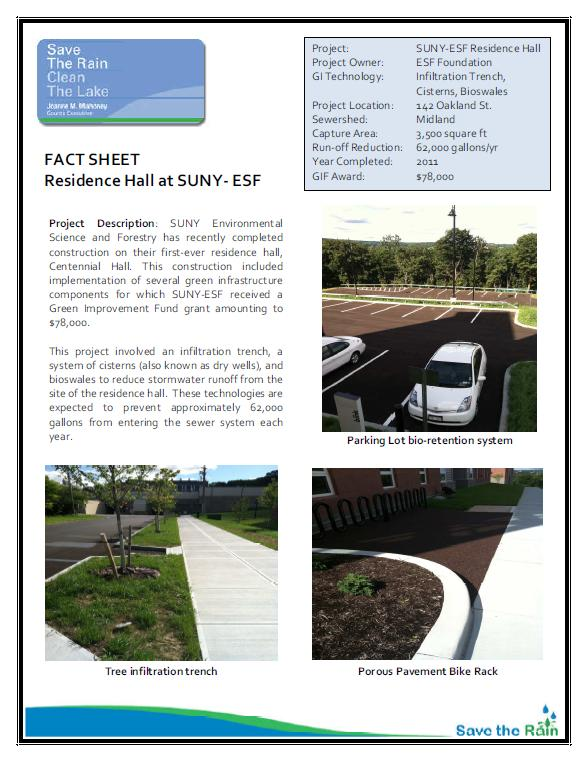 SUNY-ESF Residence Hall Fact Sheet