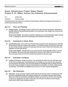 Wilbur Ave Zoo Entrance Project Status Report (PDF)
