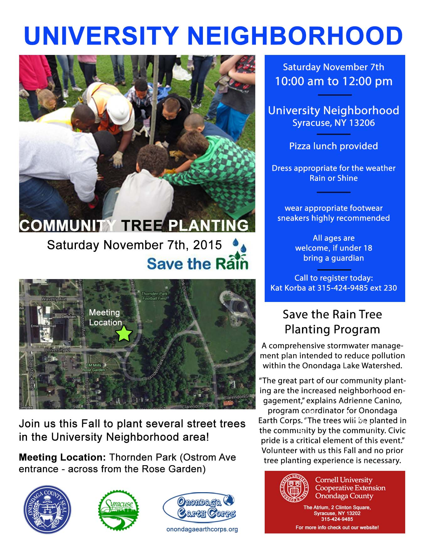 University neighborhood tree planting flyer