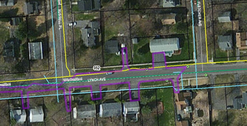 Drainage Area captured by the Lynch Ave. Road Infiltration Trench Project